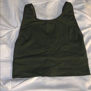 Olive green ribbed crop/sports bra